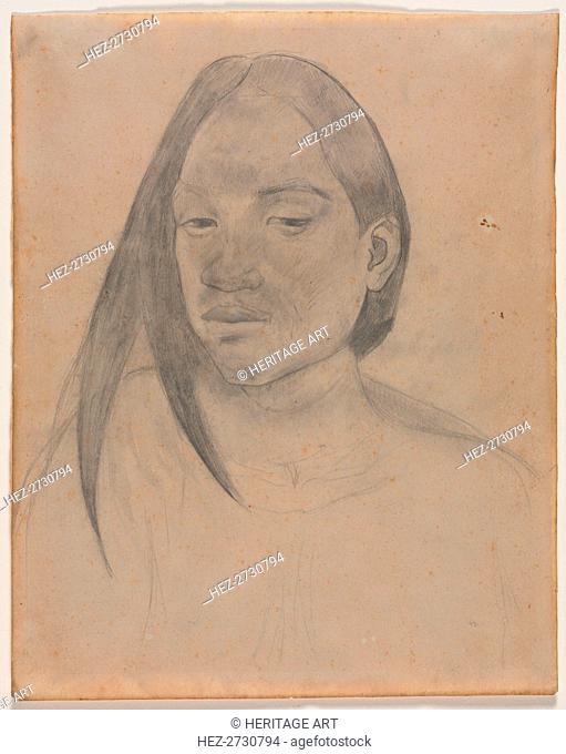 Head of a Tahitian Woman, 1891. Creator: Paul Gauguin (French, 1848-1903)