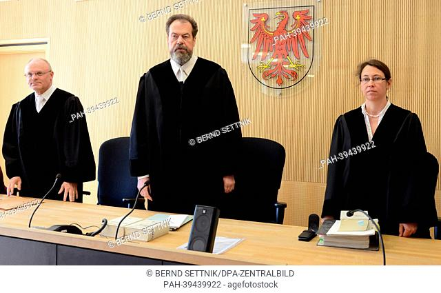 Chief Justice Gert Wegner (C) stands next to judges Brit Burzer (R) and Gunther Scharf (L) inside the regional court in Neuruppin, Germany, 13 May 2013