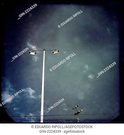 street lamps, smart phone shot