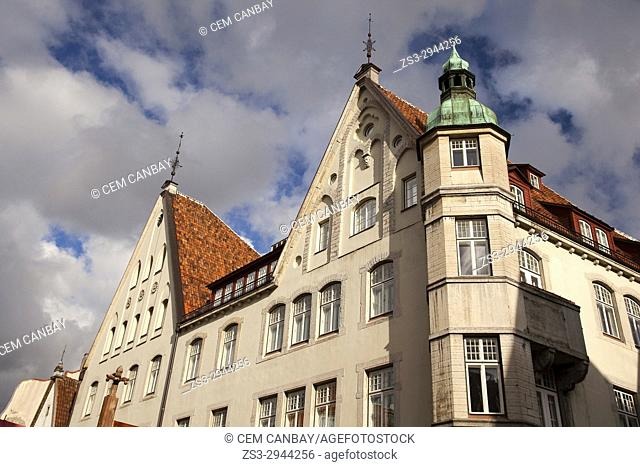 View to the traditional buildings in the old town, Tallinn, Estonia, Baltic States, Europe