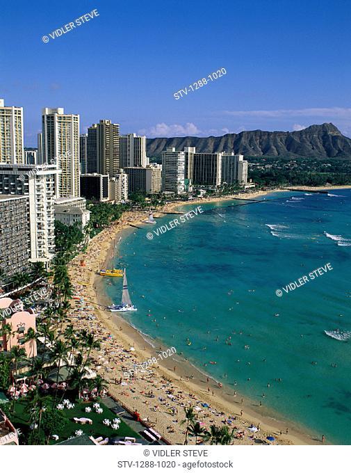 Aerial, America, Beach, Boats, Crowd, Crowded, Diamond head, Dormant, Hawaii, Holiday, Hotels, Landmark, Oahu, Ocean, Resort, Sa