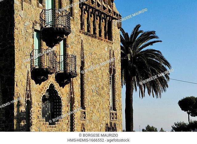 Spain, Catalonia, Barcelona, Bellesguard tower also known as Casa Figueras, built between 1900 and 1909 by architect Antoni Gaudi, carrer de Bellesguard 16-20
