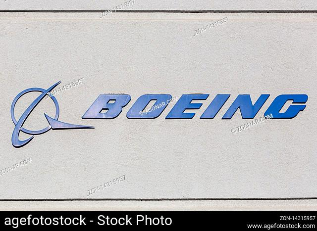 Los Angeles, California ? April 12, 2019: Boeing Logo sign on a building at Los Angeles airport (LAX) in the United States
