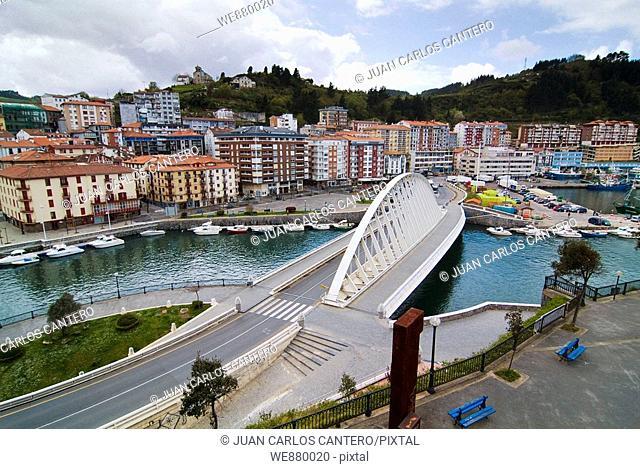 Itxas Aurre bridge by Santiago Calatrava, Ondarroa, Biscay, Basque Country, Spain