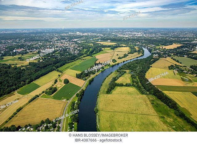 Aerial photograph, Ruhr district, Ruhr Valley, Ruhr floodplains, south of Mülheim an der Ruhr, Ruhr district, North Rhine-Westphalia, Germany