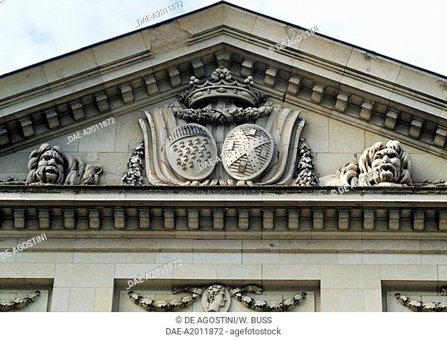 Coats of arms in stone on the facade of Chateau de Craon, 1770, Pays de la Loire. France, 18th century