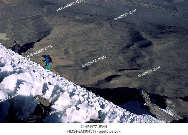 Bolivia, Oruro Department, Sajama Province, ice on the ascent to Sajama 6549m culminating point of the county
