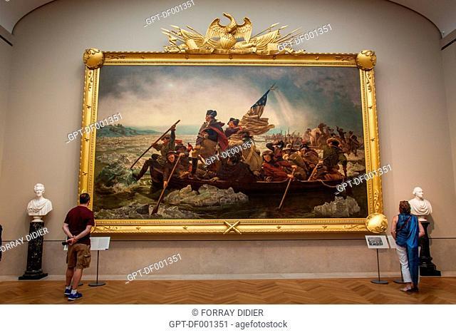 EXHIBIT OF THE WORK 'WASHINGTON CROSSING THE DELAWARE' BY THE GERMAN PAINTER EMANUEL LEUTZE AT THE NEW YORK METROPOLITAN MUSEUM OF ART, UPPER EAST SIDE