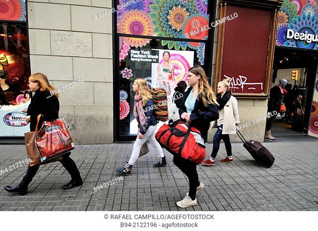 La Rambla. people walking. Barcelona. Catalonia. Spain