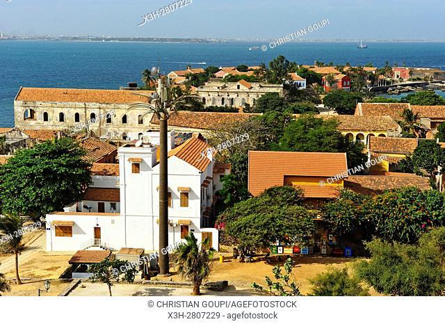 overview of the village from the Castel, Ile de Goree (Goree Island), Dakar, Senegal, West Africa
