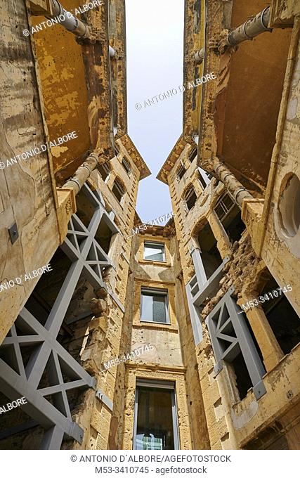 Beit Beirut, a building ravaged during the civil war, now repaired and tranformed in a Museum and Urban Cultural Center. The building is also known as Barakat...