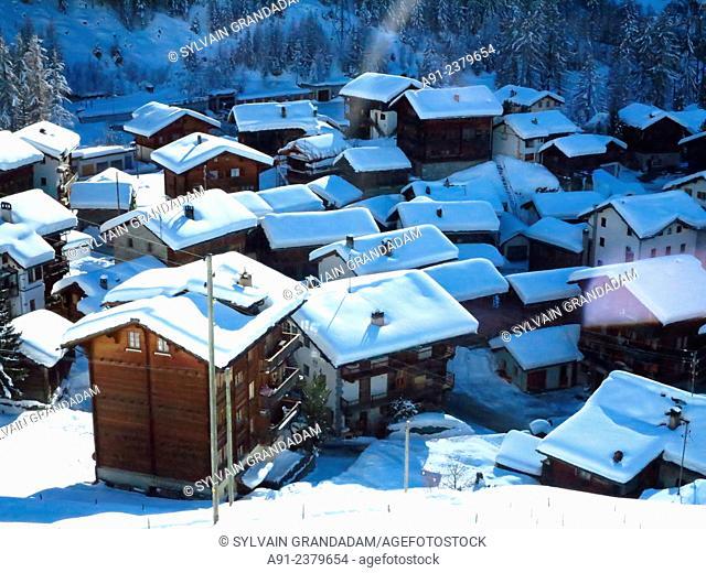 Switzerland, Valais, Val d'Herens, village of Evolene, overview on Les Hauderes