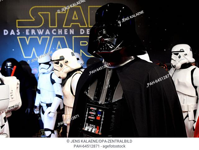 The character 'Darth Vader' arrives to the German premiere of the new film 'Star Wars:The Force Awakens' in the Zoo Palast cinema inBerlin,Germany