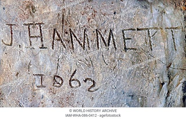Lead taken from Tolpuddle church with James Hammett's name inscribed. Dated 19th Century