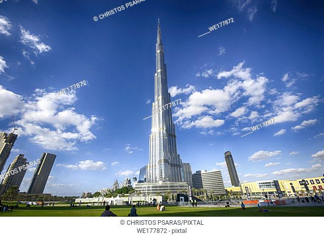 Burj Khalifa tower at a blue clear sky, the tallest building in the world, at Dubai United Arab Emirates