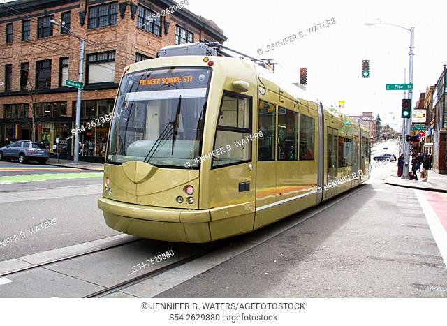 A trolley in Seattle, Washington, USA