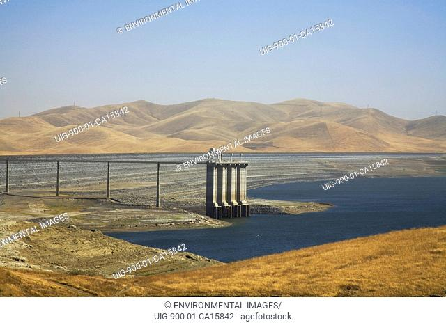 The San Luis Dam and San Luis Reservoir is a water-storage 'off-stream' reservoir and is typically low in late summer due to its heavy usage for irrigation