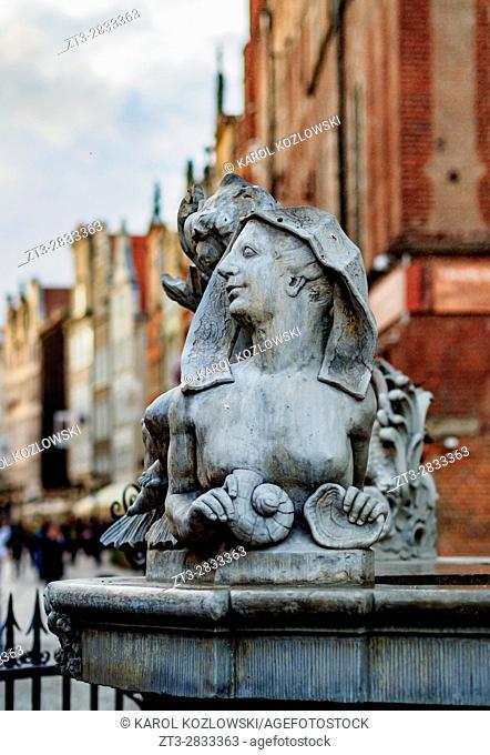 Poland, Pomeranian Voivodeship, Gdansk, Old Town, Sculpture on the Long Market