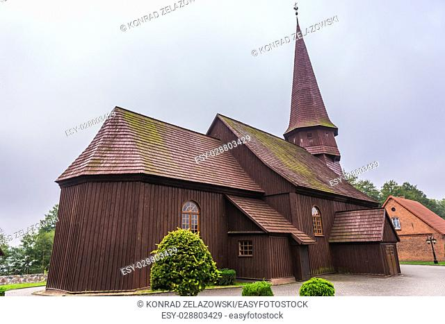 17th century wooden Church of the Exaltation of the Holy Cross in Lesno village, Chojnice County on Kashubia region of Pomeranian Voivodeship, Poland