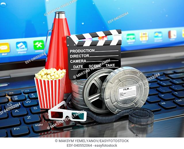 Video or movie online internet concept. Film reels, clapperboard and pop corn on laptop keyboard. 3d