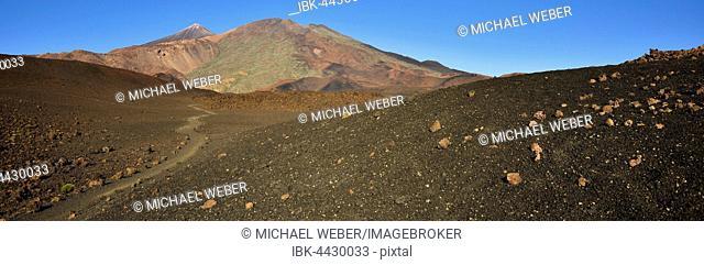 Trail to Mount Teide and Pico Viejo, Montaña Samara, Teide National Park, Tenerife, Canary Islands, Spain