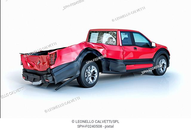 Single car crashed. Red pick up damaged on the rear part. Isolated on white background. Perspective view