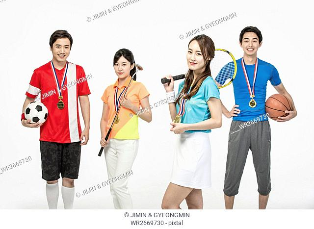 Young smiling Korean sports players