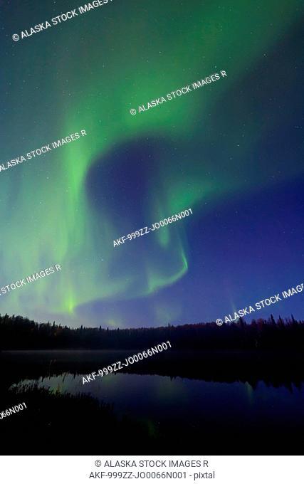 Aurora Borealis over South Rolly Lake at Nancy Lake State Recreation Area, Southcentral Alaska, Autumn