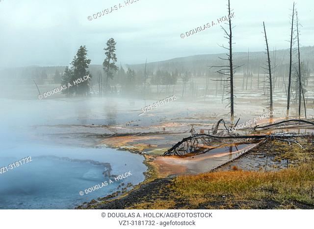 Hot Springs on Firehole Lake Drive Yellowstone National Park. USA
