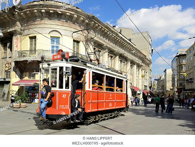 Turkey, Istanbul, View of Historical tram at Istiklal Caddesi