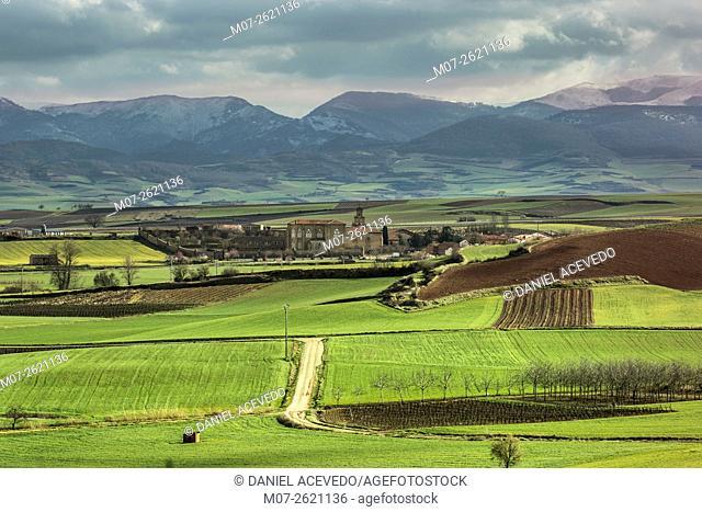 Cañas Monastery and green landscape, La Rioja, Spain, Europe