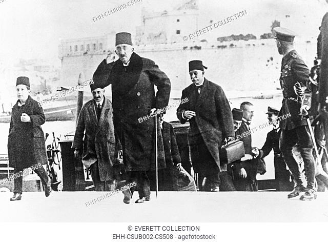 Former Turkish Sultan Mehmed VI (Mohammed VI) arrived in Malta on British warship. Dec. 9, 1922. The Turkish Grand National Assembly abolished the Sultanate on...