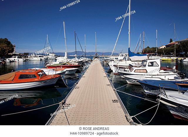 The harbour of Malinska, Krk island, Croatia, Kvarner bay, Adria