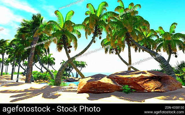 Paradise on Earth - tropical atoll near the shore