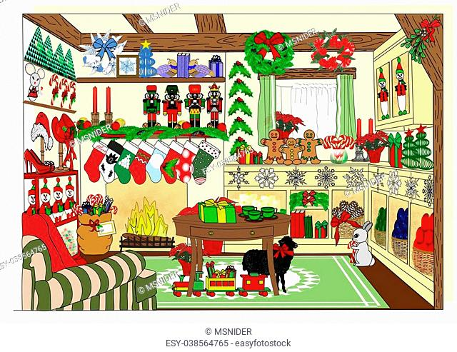 An illustration of a village store selling Christmas and holiday items