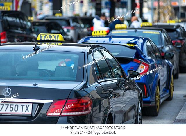 Taxi cabs at Hauptbahnhof railway station, Vienna, Austria