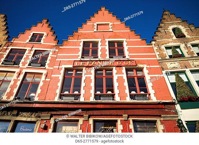 Belgium, Bruges, The Markt, market square buildings