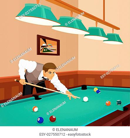 American billiards pool. Young man plays game of billiards in hall. Guy is aiming and going to make shot with a cue. Game in progress