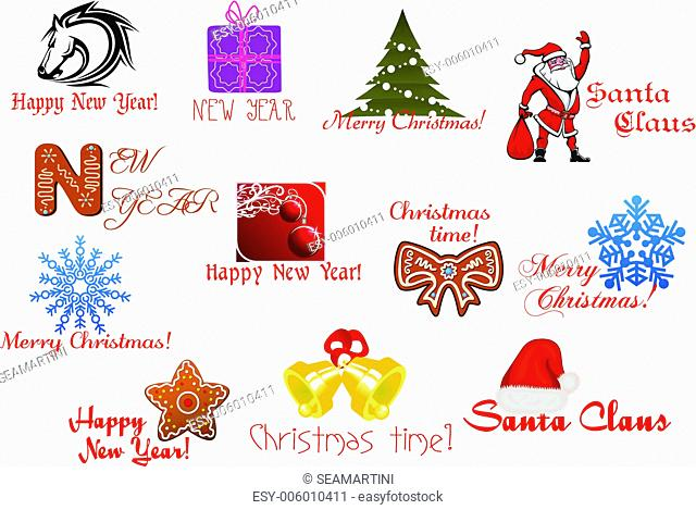 Headlines and icons for Christmas or New Year holiday design