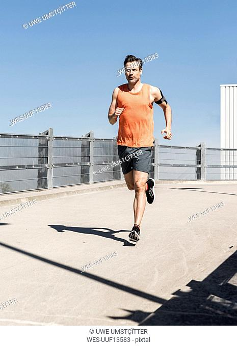 Man jogging in the city