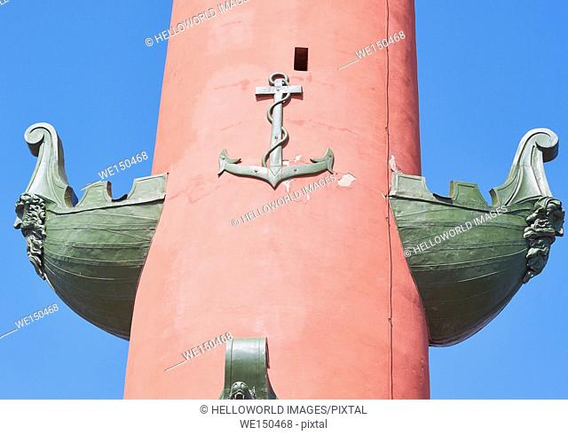 Sculptures on Rostral Column, designed in 1810 by Thomas de Thomon as lighthouses, St Petersburg, Russia