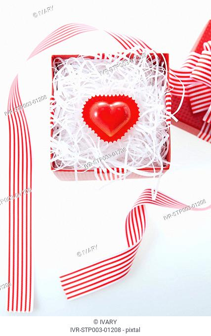 Heart Shape Candy In Red Gift Box