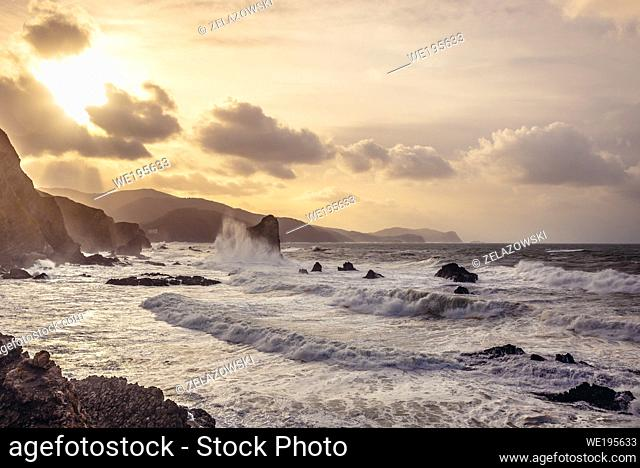 Evening view from Gaztelugatxe islet in on the coast of Biscay province of Spain