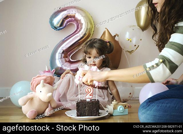 A 2 year old girl celebrating her birthday