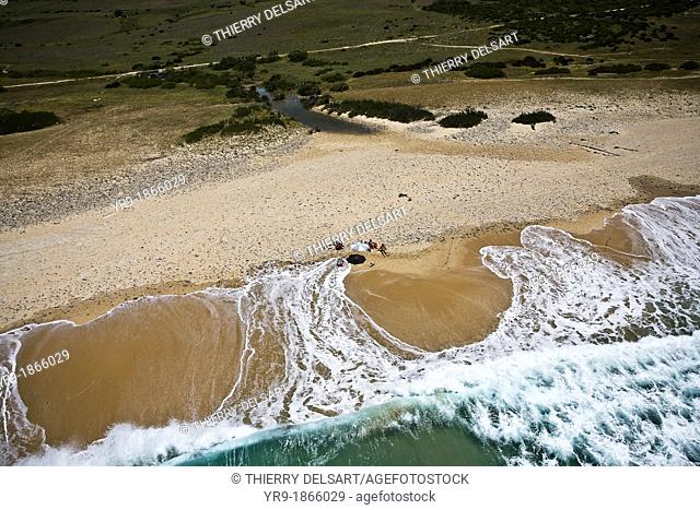 Waves breaking on Bolonia's beach, Aerial view. Tarifa, Cádiz area, Spain