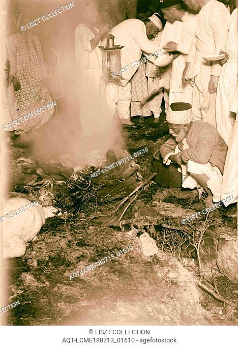 The Samaritan Passover on Mt. Gerizim Burning the remains of sacrifice 1900, West Bank