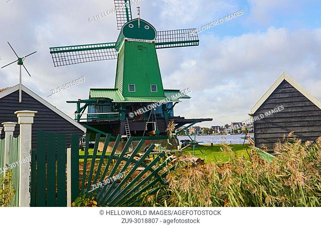 De Poelenburg a paltrok or post mill, Zaanse Schans a village near Zaandijk in the municipality of Zaanstad, North Holland, Netherlands