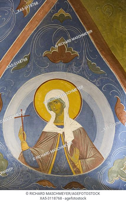 Frescoes, Holy Gate, The Holy Trinity Saint Serguis Lavra, UNESCO World Heritage Site, Sergiev Posad, Golden Ring, Russia