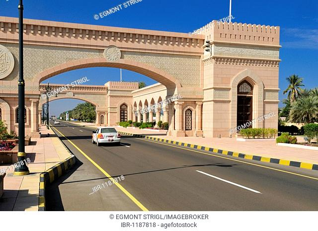 Beautification, building at the freeway between Muscat and Sohar, Batinah Region, Sultanate of Oman, Arabia, Middle East