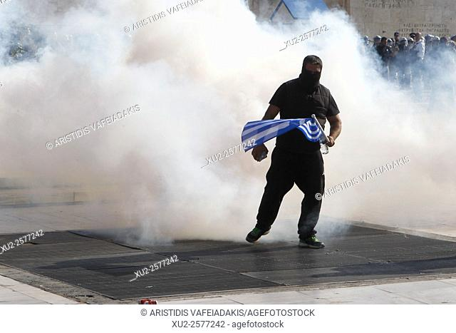 Athens Greece 18 November 2015. Greek farmers protesting over planned tax and pension reforms demanded by the country's bailout creditors have clashed outside...
